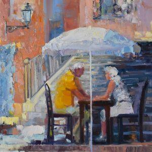 Impressionist painting of a couple under sun umbrella.
