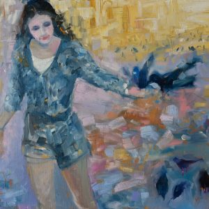 Painting of a girl with pigeons, in Venice.