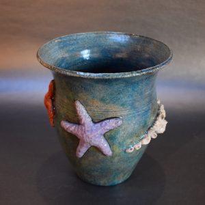 Teal Raku Pot with pale purple and bright orange sea star, barnacles - wide rim