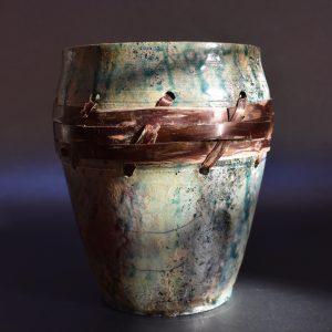 Cherry Bark Raku Pot by Ed Oldfield