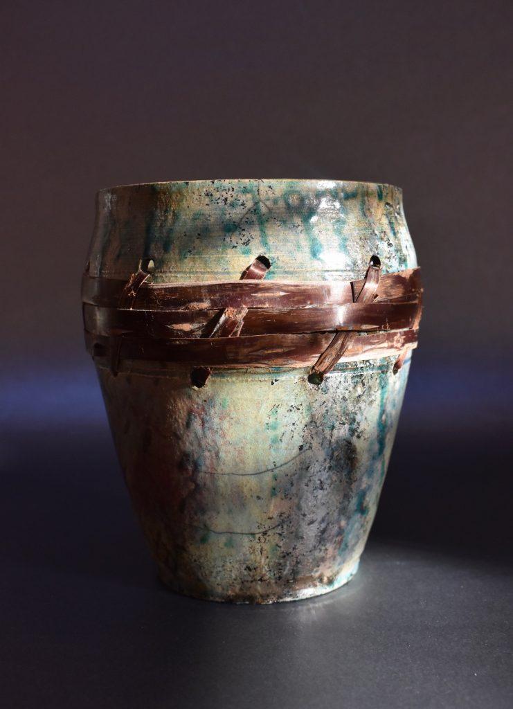 Cherry Bark Raku Pot by Ed Oldfield