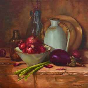 Still life with red onions, green onions, eggplant, bottles and enamelled vessels