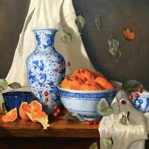Still life with Satsuma Mandarins, white and blue porcelain