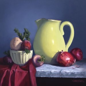 Still Life with a bright celadon pitcher, burgundy cloth, beets and red onions
