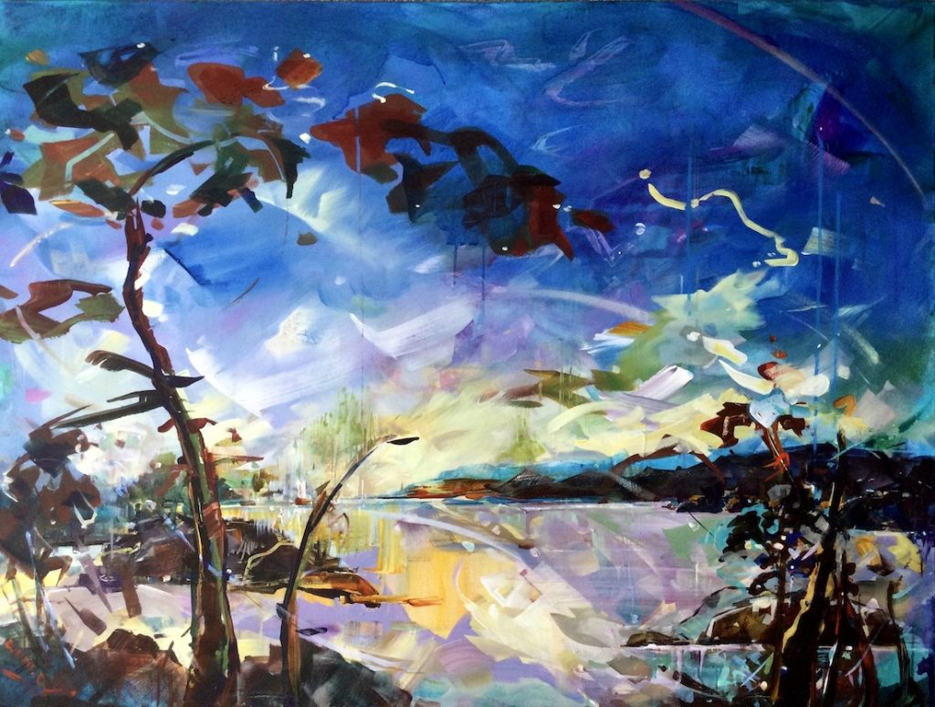 Expressive coastal landscape with deep blue sky, water and tree