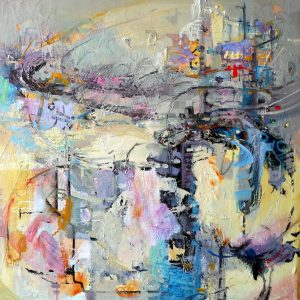 Abstract painting in soft light colours by Eunmi Conacher