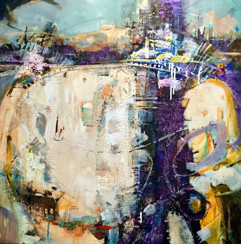 Seoul III by Eunmi Conacher, abstract painting in teal, purple, yellow and white