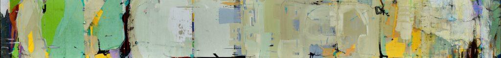 Long narrow horizontal abstract painting by Eunmi Conacher