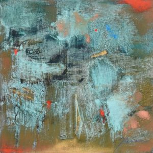 Abstracted small painting resembling oxidized copper, teal and red