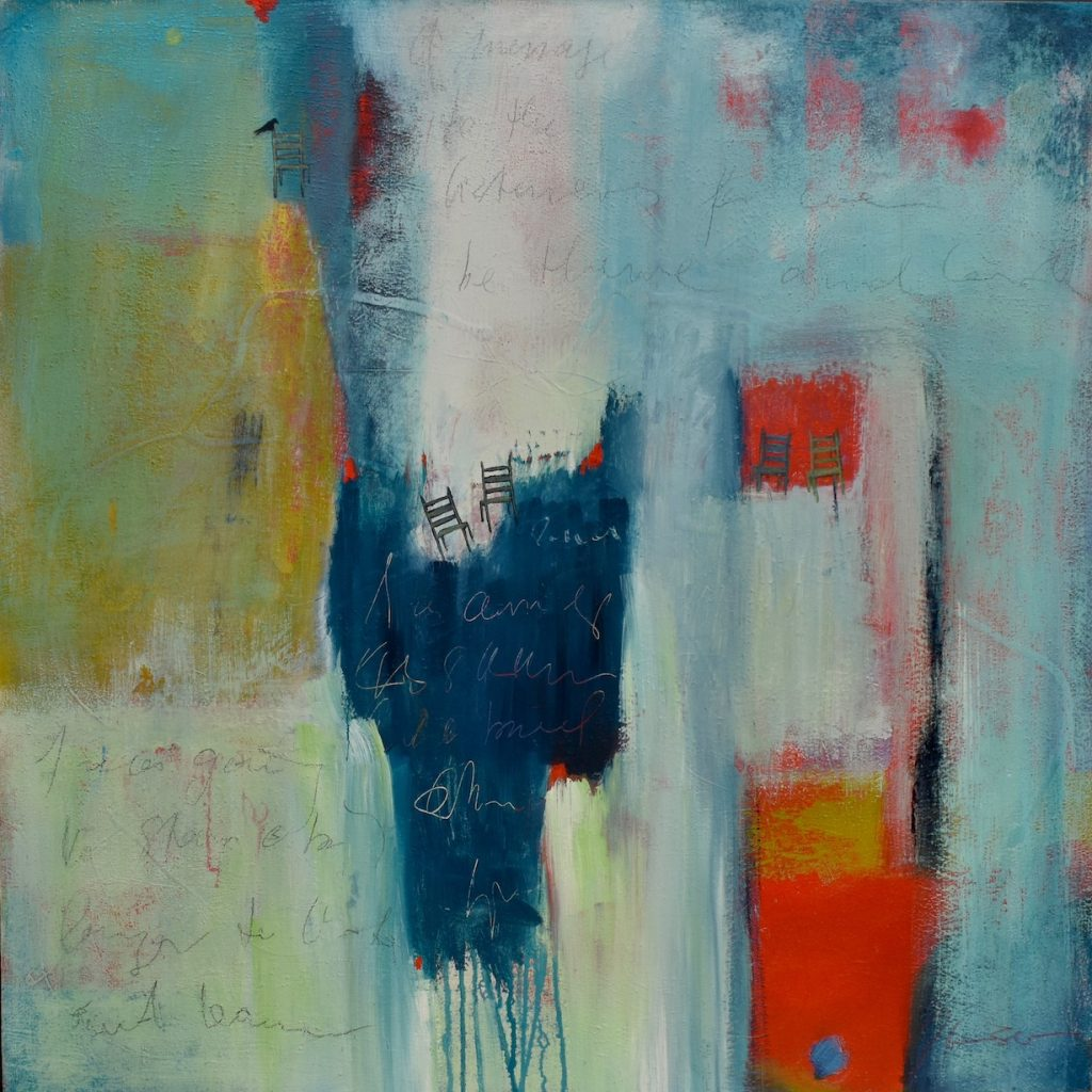 Large abstract painting in teal, blue, red, white and ocher