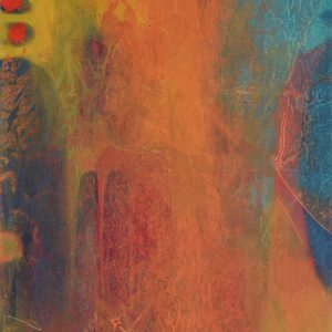 Abstract in yellow, orange, teal blue and red