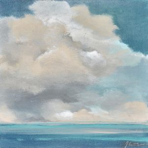 Painting of cumulous clouds over water