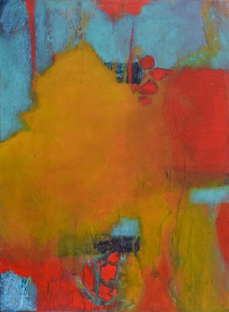 Abstract in yellow, teal and bright red