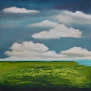 Blue green landscape painting with clouds