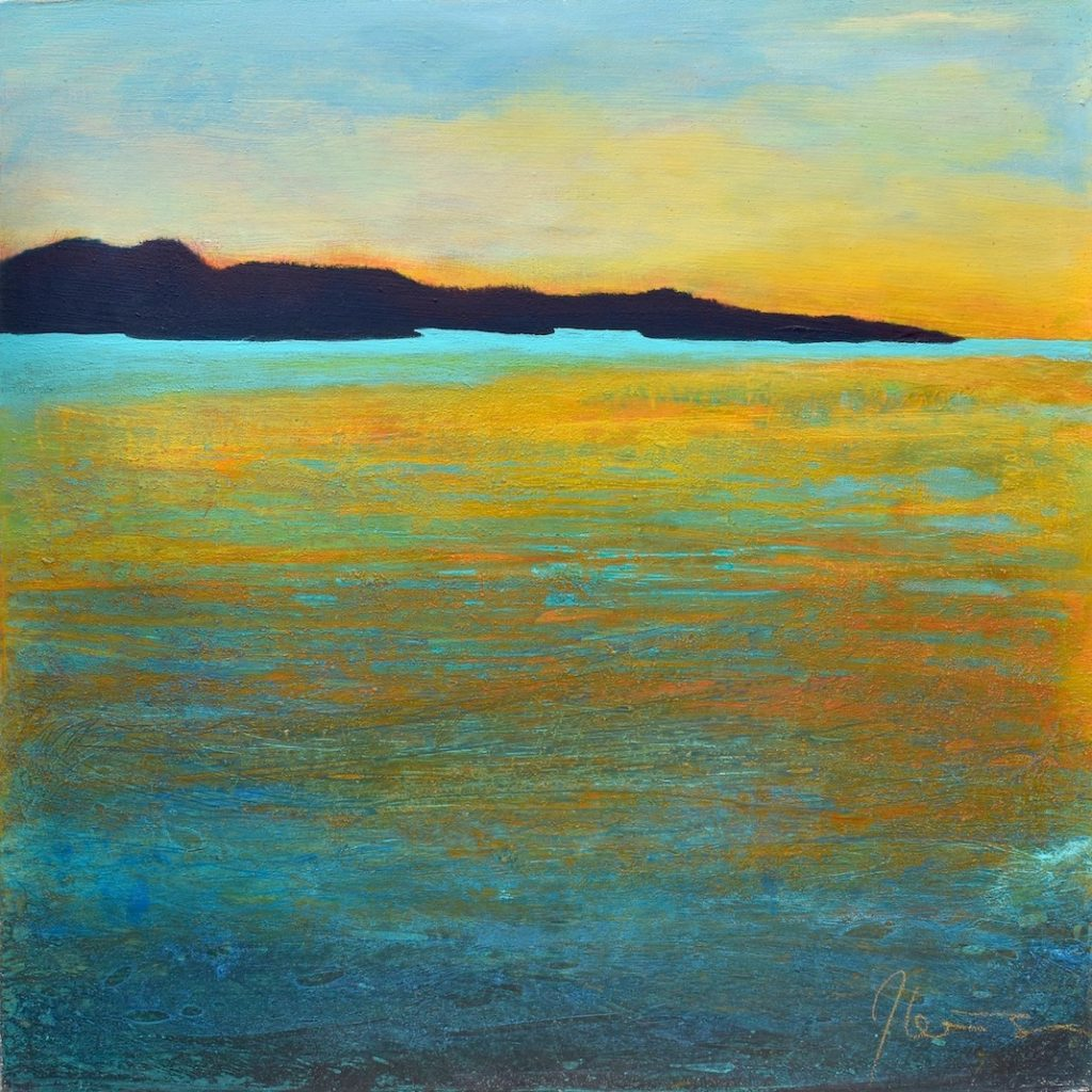 Abstracted coastal landscape in orange, yellow, teal, blue and black