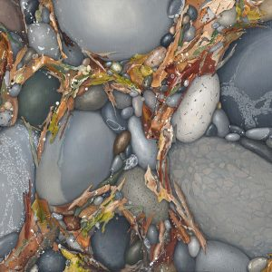 Painting of pebbles with abstracted organic matter. grey and earth tones contemporary art