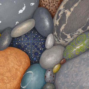Painting of pebbles with mandala stones