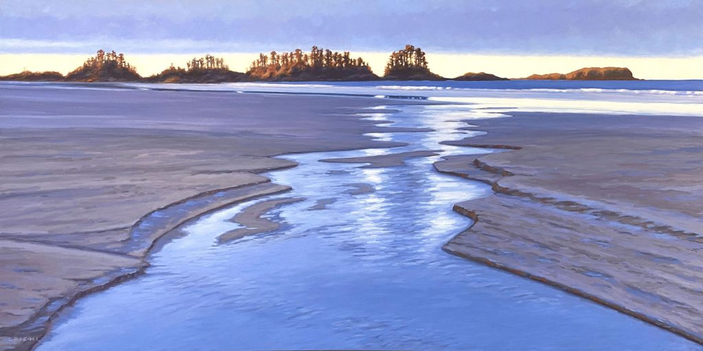 Large Tofino inspired seascape in blue and yellow