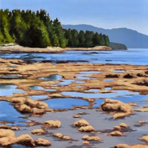 Painting of Botanical Beach tidal pools by Lisa Riehl