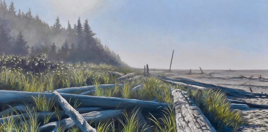 Tofino Long Beach painting with driftwood and grasses