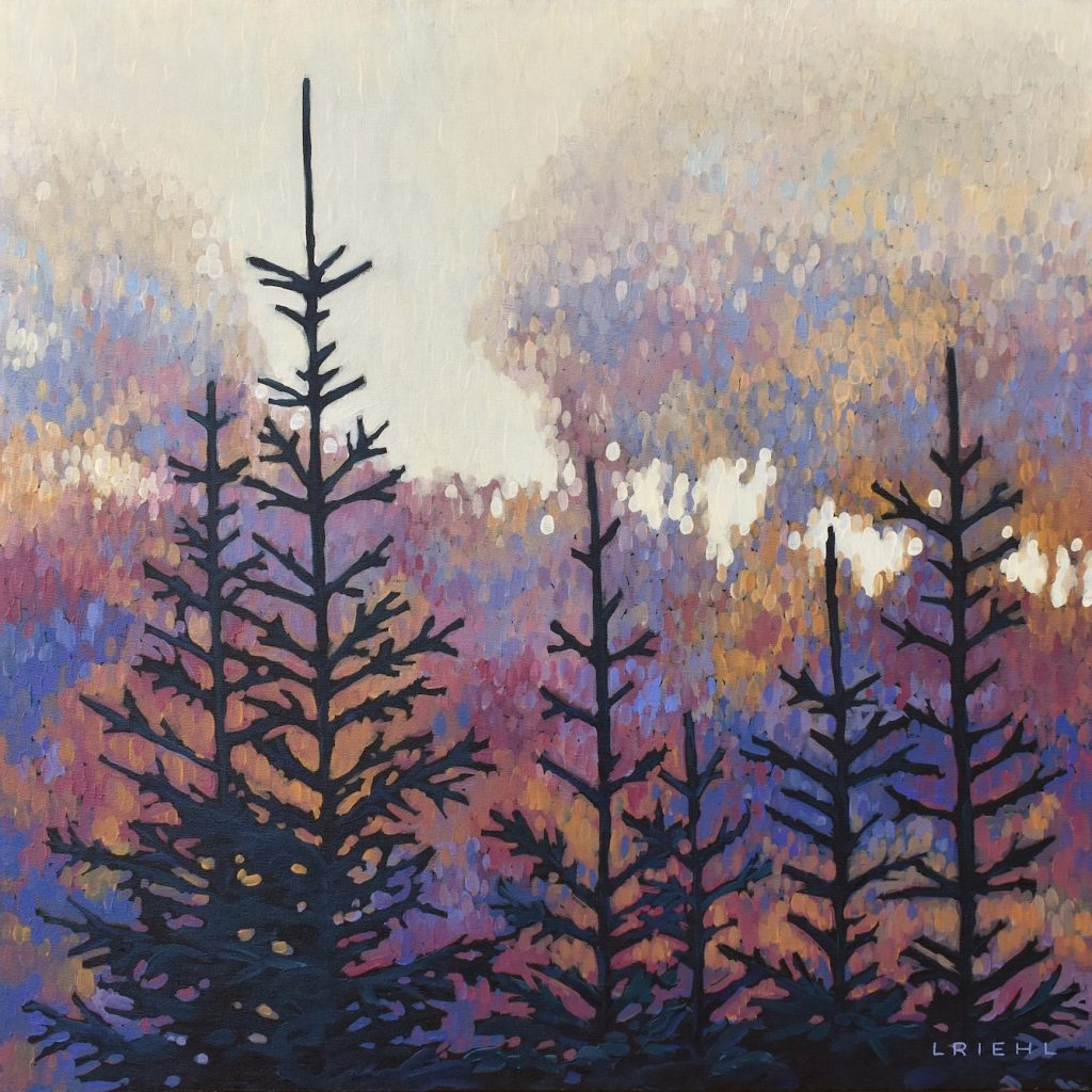 Impressionist painting of conifers in brown, purple and cream colours