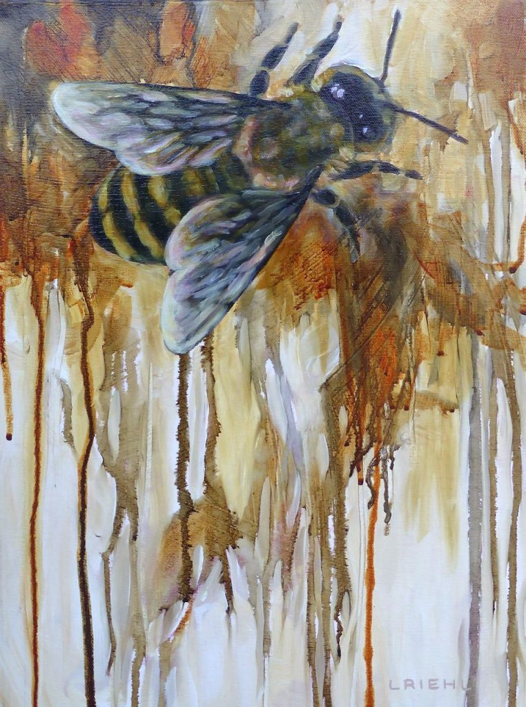 Semi-abstracted painting of a honey bee