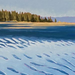 Painting of long sandy beach in Parksville, BC