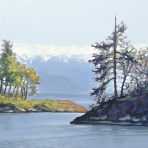 Coastal landscape in oil with trees and snow capped mountains, blue and green