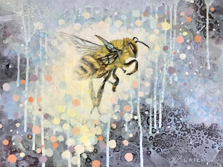 Abstracted, playful painting of a honey bee, pastel colours