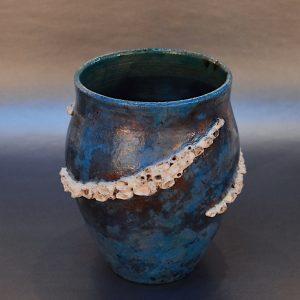 Ocean Blue Raku Barnacle Pot by Ed Oldfield