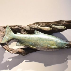 Ed Oldfield, Chinook Chasin Herring on Driftwood, Wall Scuptures