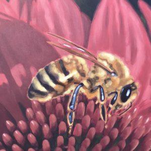 Painting of honey bee on pink flower, Lisa Riehl