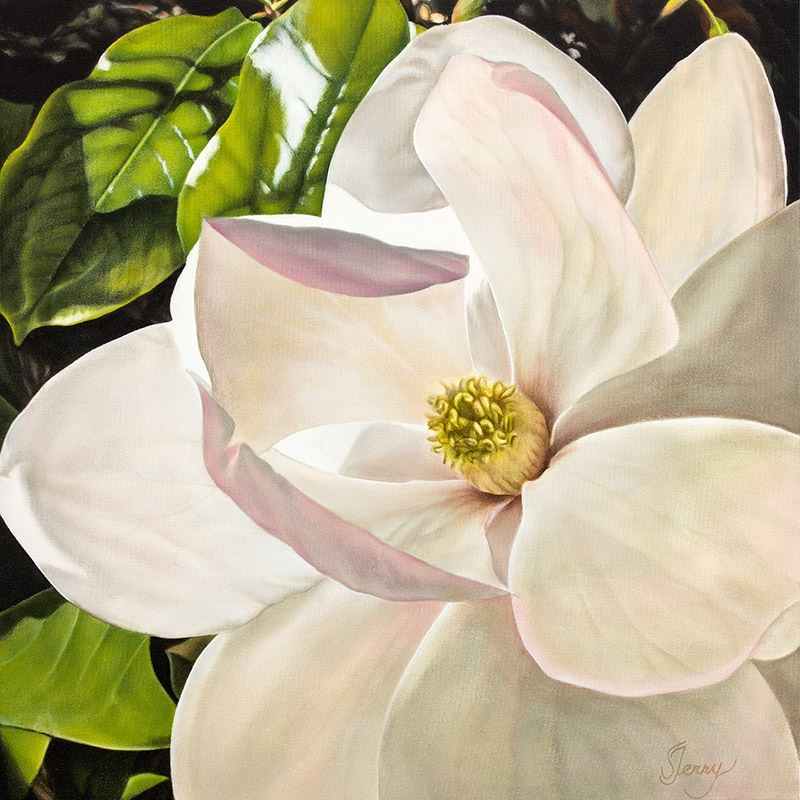 Realistic Painting of blush magnolia flower