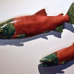Spawning Sockeye Salmon Pair, Male & Female, Ed Oldfield