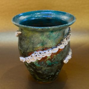 Green Raku barnacle Pot by Ed Oldfield