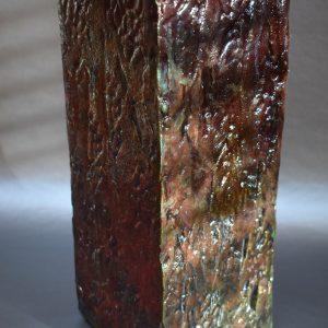 Textured Wood Stamped Raku Vessel