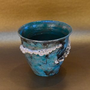 Wide Mouth Teal Barnacle Pot by Ed Oldfield