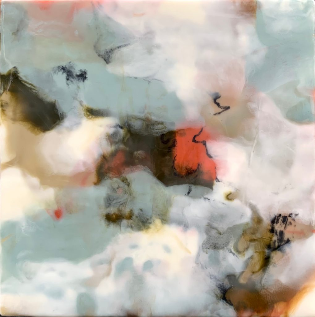 Contemporary Encaustic Abstract Painting in Blue-grey, white, brown, orange