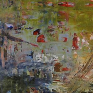 Impressionist Abstracted Painting, Pond, Water, Soft Palette