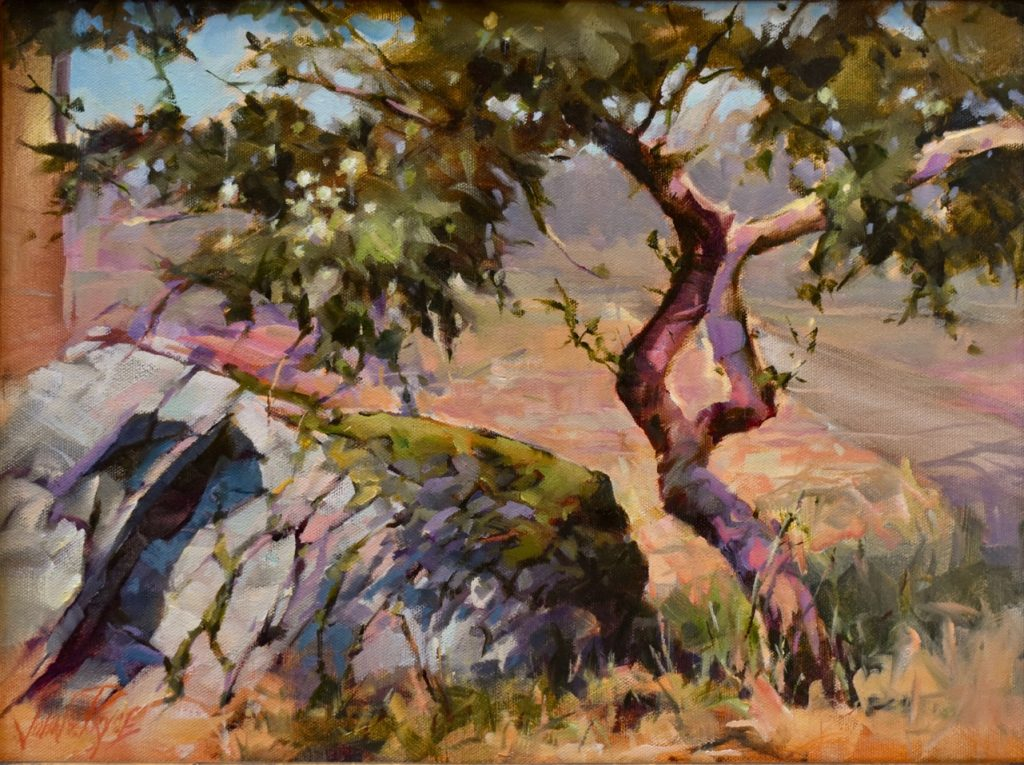 John Stuart Price, Little Green Apples, Oil on Panel, Plein air, Mt Douglas Victoria