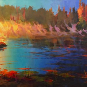 High chroma landscape painting of sunrise over the water in Killarney