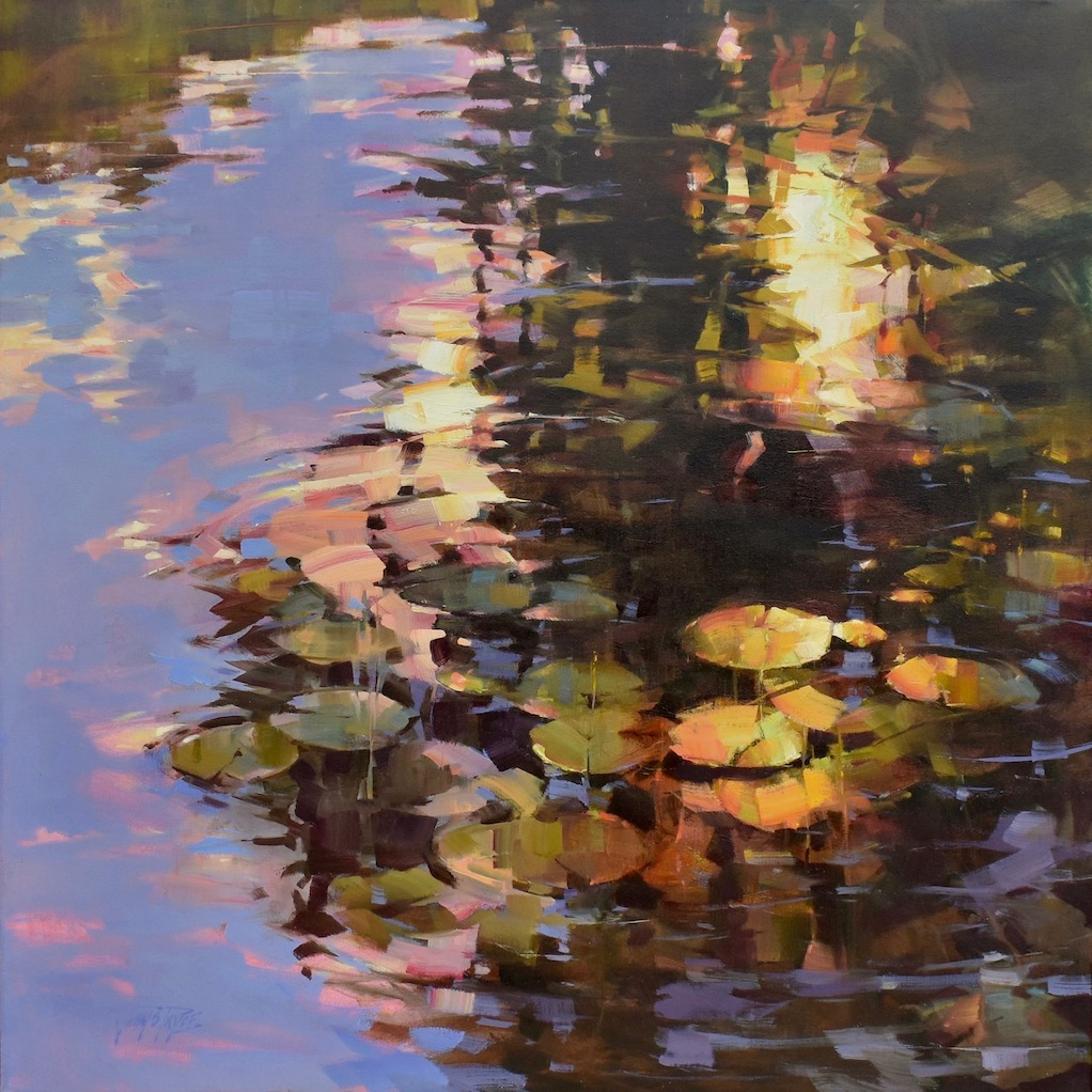 painting of evening light dancing across water lilies in purple, green and yellow