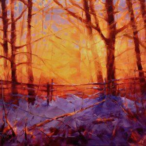Painting of winter landscape at sunset by John Stuart Pryce