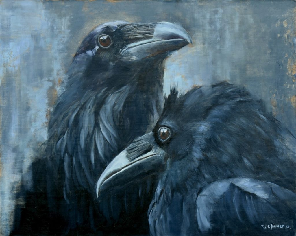 Painting of ravens