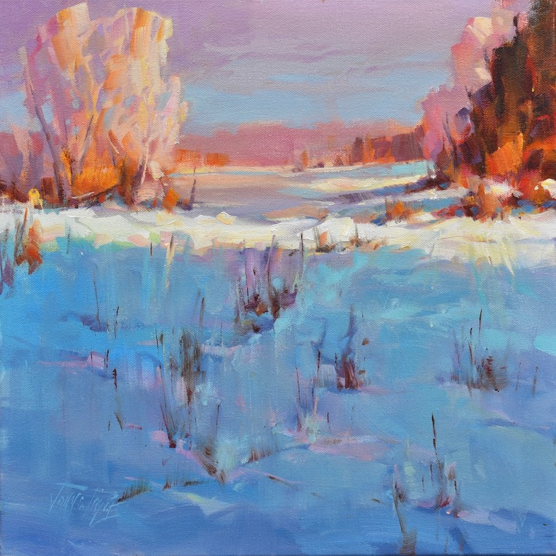 Painting of winter scene at Solstice, Ontario