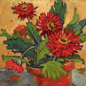 Red art, Expressive painting of red daisies in a pot