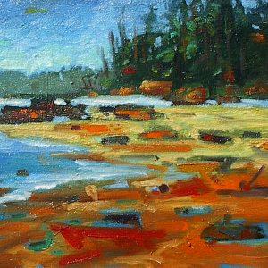 Colorful coastal landscape painting