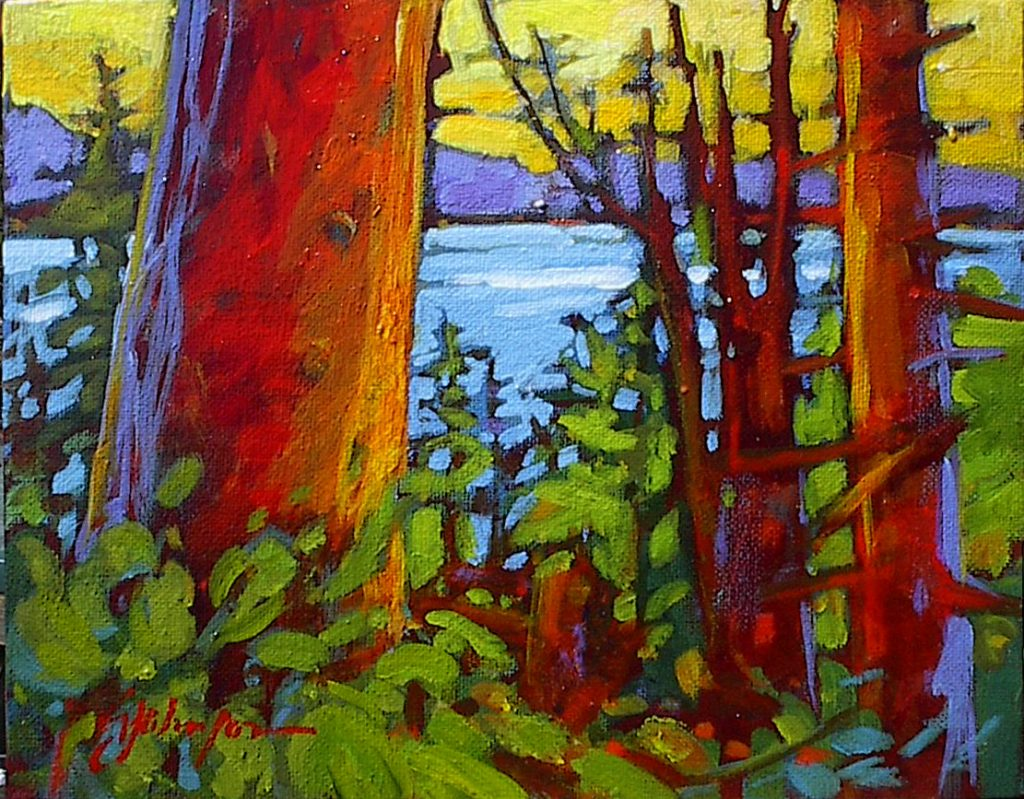 Small landscape painting, trees