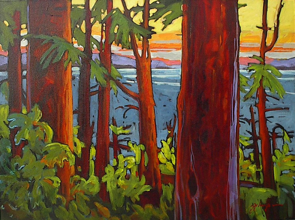 Coastal view through the trees, large contemporary landscape painting by Gail Johnson