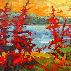 Colorful small landscape painting, red trees